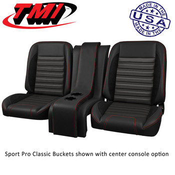 Seat Cover Primary Color: Black     Seat Cover Primary Material: Vinyl     Seat Cover Insert Color: Black     Seat Cover Insert Material: Vinyl     Seat Cover Stitching Color: Black     Recline Style: Lever     Quantity: Sold as a pair.     Notes: Brackets and center console sold separately.    TMI Pro-Classic Sport Series bucket seats bring comfort, style, and flexibility to every cruise. These low-back bucket seats fit your ride with ease—and feature side and thigh bolsters, marine-grade vinyl, and contrast stitching in one of many colors. High-density foam is wrapped around all-metal Classis Sport frames, keeping everything in place and allowing for easy sliding and full reclining. Order the model designed to fit your year/make/model vehicle.