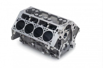 The LS engine design has incredible potential, but once you start bolting on big superchargers, an aluminum block just can't contain all of that power. These iron LS blocks have all of the same potential, but their cast iron construction is capable of withstanding high-horsepower applications. This is a brand new 4.8L/5.3L block that has been bored to the stock 5.7L bore diameter of 3.898 in. and painted black. It includes side main bolts, expansion plugs, threaded plugs, oil restrictor, and dowel pins. Further over boring is not recommended without sonic testing.  Main Journal Type:LS mains Engine Block Style:Stock/OEM standard deck Deck Height (in):9.240 in. Cylinder Bore as Shipped:3.898 in. Engine Block Material:Cast iron Main Bolt Style:6-bolt Main Caps Included:Yes Main Cap Material:Cast iron Main Cap Fasteners Included:Yes Main Bearings Included:No Rear Main Seal Style:1-piece Finished Cylinder Bores:Yes Raised Cam Location:No Cam Bearings Included:Yes Freeze Plugs Included:Yes