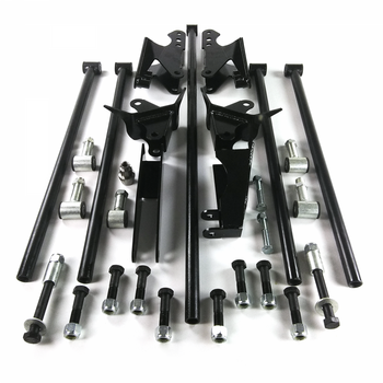 "Putting a lot of horsepower through your rear end? This Heavy Duty Universal Parallel 4-Link Kit is stronger than the rest!  With the same .156 wall tubing that is the standard in drag racing applications, this full-sized 4-link kit will remain straight and perfectly aligned under even the most demanding applications. This adjustable 4-link features extra long 28 inch bars and provides you with the maximum in suspension travel and adjustability. Brass sleeved bushings guarantee a lifetime of squeak-free operation. Completely TIG welded for maximum strength. All mounts are cut from 3/16"" plate.  Special adjustable CNC machined threaded rod ends are thicker than usual and thread over 2.5 inches into the 4-link tubes for both strength and adjustability. Fully plated mounting hardware included."