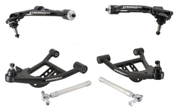 RideTech StrongArm tubular control arms are designed to stiffen up your vehicle's chassis, while providing a smoother ride. They feature a tubular design that offers maximum strength and are available in black or silver powdercoated finishes, depending on your vehicle application. The control arms include polyurethane bushings and factory-installed ball joints (front), making installation easier. Get optimum suspension geometry with a set of RideTech StrongArm tubular control arms.  Control Arm Style:Tubular Ball Joint Included:Yes Ball Joint Plate Type:Pressed-in Adjustable:No Hardware Included:No Control Arm Material:Steel Control Arm Finish:Black powdercoated Bushings Included:Yes Bushing Material:Polyurethane Quantity:Sold as a set