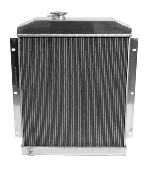 Get your 47-54 Truck properly cooled with this 4-core aluminum radiator. See the info below.  Radiator Style: Downflow Overall Width (in):23.000 in. Overall Height (in):26.750 in. Overall Thickness (in):3.130 in. Inlet Location:Center upper Outlet Location:Lower passenger side Radiator Material:Aluminum Radiator Finish:Polished Core Width (in):19.250 in. Core Height (in):20.750 in. Core Thickness (in):3.130 in. Row Quantity:4 Transmission Cooler:Yes Trans Cooler Adapter Fittings Included:No Inlet Size:1 1/2 in. Outlet Size:1 3/4 in. Tube Size:5/8 in. Fan Included:No Radiator Cap Included:Yes