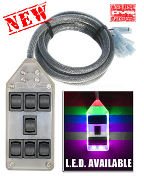 7 ROCKER SWITCH CONTROLLER  Cord with male and female connectors  12 volt inputs for your remote up and dump options - (hooks up to your alarm or remote system. May require relays) Controls 8 Valves Individually. Choose your color. Click inside for more details