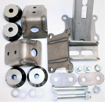 "These sturdy weld-in engine mounts allow the installer to fine-tune the engine placement according to transmission placement or other needs. A double rubber cushion on each side provides vibration isolation at the ends of the two mounts. The rubber cushions are secured with a large 5/8"" diameter bolt. The engine side mounts have slots in them so you can position the engine closer to one side of the frame.  Frame widths 23.35"" to 29.35""  The engine mount kit includes two engine side mounts, two weld-in gusseted frame mounts, and rubber mount kit.  Note: These engine mounts fit the new Gen III / IV, LS-Series V8. The mounts have been designed to use with Truck exhaust manifolds or rear dump headers and will interfere with car (Corvette/Camaro/Trans-Am) exhaust manifolds."