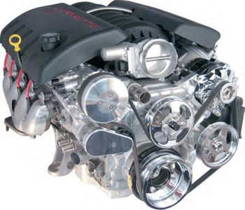 Engine Drive System, Front Runner, Aluminum, Polished, Chevy LS, Small Block, Kit