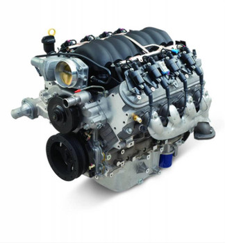 Chevrolet Performance LS3 6.2L 376 c.i.d. 430 hp long block crate engines use an impressive 10.7:1 compression ratio to put out 430 hp at 5,900 rpm and 425 lbs.-ft. of torque at 4,600 rpm. They feature a cast aluminum engine block with a nodular iron crankshaft, powdered metal connecting rods, and hypereutectic pistons. The steel hydraulic roller camshaft has a .551 in. intake and .522 in. exhaust valve lift with 204 degrees intake and 211 degrees exhaust valve duration at .050 in. cam lift.   Long block crate engines also include:  * Ignition coil packs * Spark plug wires * Spark plugs * Intake manifold * Fuel injectors * Throttle body * Exhaust manifolds * 14 in. flexplate * Front timing cover * Aluminum water pump * Harmonic balancer * Passenger side right hand dipstick and tube