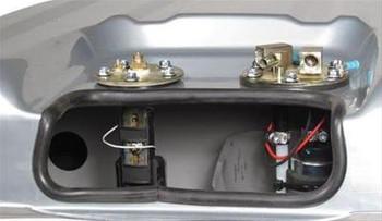 Fuel Tank, Sniper EFI, 17 Gallons Capacity, Steel, Silver Powdercoated, Baffled Sump, Oldsmobile, Kit