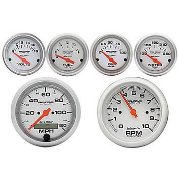 Combo, Gauges, Analog, AutoMeter, Ultra-Lite, Tachometer, Speedometer, Voltmeter, Water/Oil Fuel Level, Kit