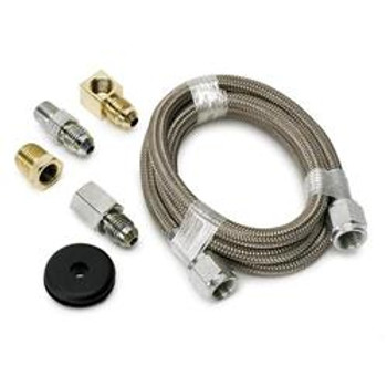 Gauge Tubing, Braided Stainless Steel, -4 AN Diameter, 3 ft. Long, Kit
