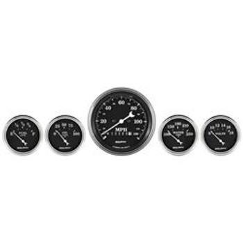 Gauge Kit, Old Tyme Black Series, Analog, Water Temperature, Oil Pressure, Voltmeter, Kit