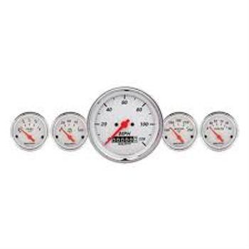 Gauges, Arctic White, Speedometer, Water Temperature, Oil Pressure, Fuel Level, White Face, Analog, Kit