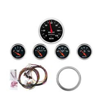 Gauges, Designer Black, Analog, Speedometer, Oil Pressure, Water Temperature, Fuel Level, Voltmeter, Black Face, Chevy, Kit