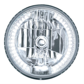 Headlight Conversion, 7 in. Diameter, Crystal Headlight, 34 LED White Auxiliary lights, Each