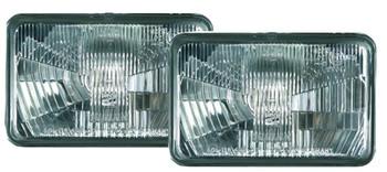 Headlight Assemblies, Vision Plus, Headlamp Conversion, Glass, Clear, Chrome Housing, Universal, Pair