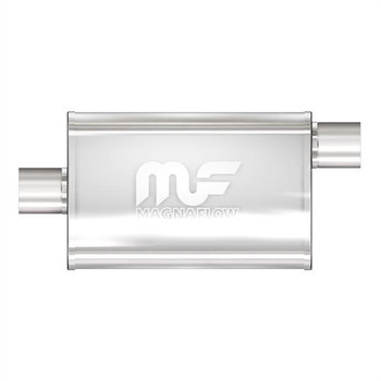 Muffler, 2.50 in. Inlet/2.50 in. Outlet, Stainless Steel, Polished, Each