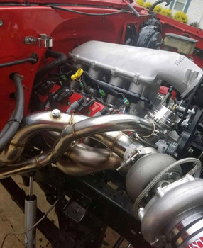 This is what the LSx Everything turbo kit looks like installed in the C10.