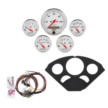 Instrument Cluster, Arctic White, Analog, Speedometer, Oil Pressure, Water Temperature, Fuel Level, Voltmeter, White Face, Black Panel, Chevy, Kit