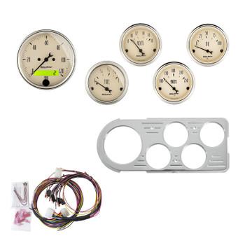 Instrument Cluster, Antique Beige, Analog, Speedometer, Oil Pressure, Water Temperature, Fuel Level, Voltmeter, Beige, Polished Gauge Panel, Ford, Kit