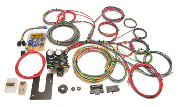 Painless Performance 21-circuit universal harnesses cover most basic wiring needs. GM column mounted harnesses include ignition switch plugs and turn signal switch plugs, preterminated and ready to install. They also have pre-wired plugs for the headlights and dimmer switch. The dash mounted units do not include the GM column mounted ignition switch plugs, but do include the GM column mounted turn signal switch plugs and terminals. They are not intended for vehicles with additional electrical accessories, such as power windows, door locks, etc.