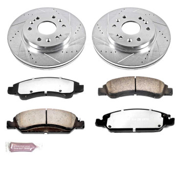 Brake Rotors/Pads, Drilled/Slotted, Iron, Zinc Dichromate Plated, Front, Cadillac, Chevy, GMC, Kit