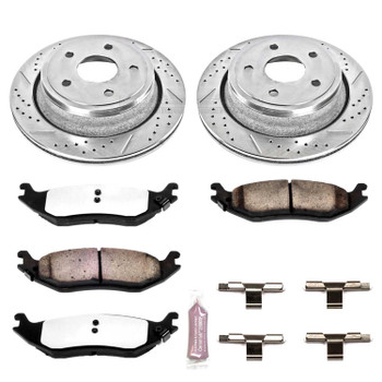 Brake Rotors/Pads, Drilled/Slotted, Iron, Zinc Plated, Carbon Ceramic Pads, Rear, Chrysler, Dodge, Ram, Kit
