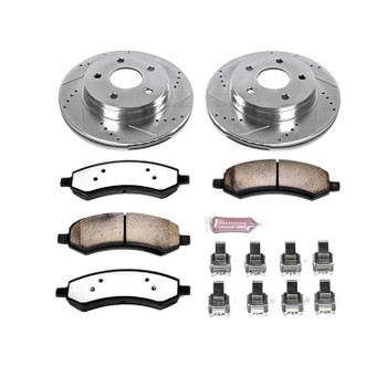 Brake Rotors/Pads, Drilled/Slotted, Iron, Zinc Dichromate Plated, Front, Chrysler, Dodge, Ram, Kit