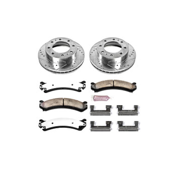 Brake Rotors/Pads, Drilled/Slotted, Iron, Zinc Dichromate Plated, Front, Chevy, GMC, Kit