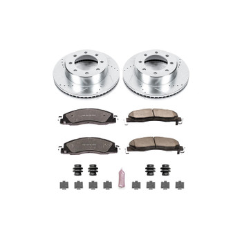 Brake Rotors/Pads, Truck and Tow, Drilled/Slotted, Iron, Zinc Plated, Front, Dodge, Ram, Kit