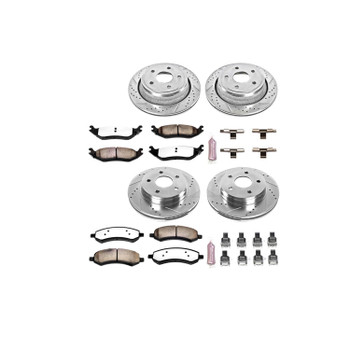 Brake Rotors/Pads, Drilled/Slotted, Iron, Zinc Dichromate Plated, Front/Rear, Chrysler, Dodge, Ram, Kit