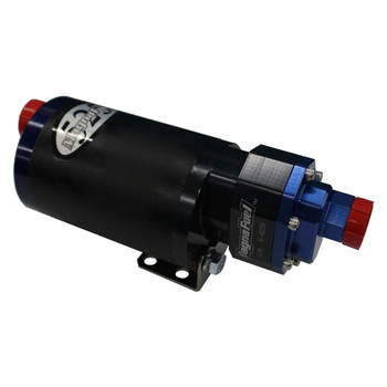 These MagnaFuel ProTuner 525 Series in-line fuel pumps feature quiet operation, which makes them ideal for street or performance use. They can support 1,000 hp and up, while offering continuous-duty use.  Additional features include:  * No pump shaft seals * CNC-machined, hard-anodized aircraft aluminum * High-torque custom motor with low current draw * Double support bearing * Can be mounted vertically or horizontally * Polymer wear plates for quiet, smooth operation