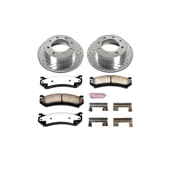 Brake Rotors/Pads, Drilled/Slotted, Iron, Zinc Dichromate Plated, Rear, Chevy, GMC, Kit