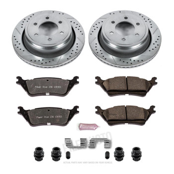 Brake Rotors/Pads, Truck and Tow, Drilled/Slotted, Iron, Zinc Plated, Rear, Ford, Kit