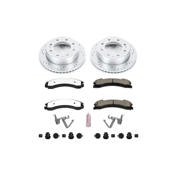 Brake Rotor/Pad, 1-Click, Iron, Drilled/Slotted, Carbon Ceramic Pad, Front, Chevy, GMC, Kit