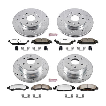 Brake Rotors/Pads, Cross-Drilled/Slotted, Iron, Zinc Plated, Cadillac, Chevy, GMC, Front/Rear, Kit