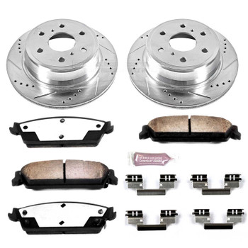 Brake Rotors/Pads, Truck and Tow, Drilled/Slotted, Iron, Zinc Plated, Rear, Cadillac, Chevy, GMC, Kit