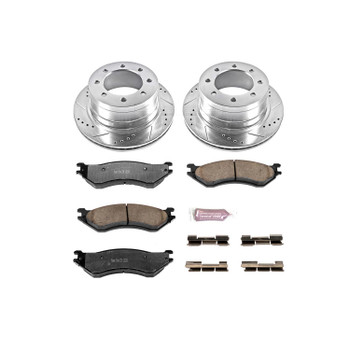 Brake Rotors/Pads, Iron, Drilled/Slotted, Zinc Plated, Carbon Ceramic Pads, Rear, Dodge, Kit