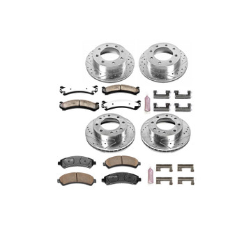 Brake Rotors and Carbon Ceramic Pads, Truck and Towing, Drilled/Slotted, Front/Rear, Chevy, GMC, Kit