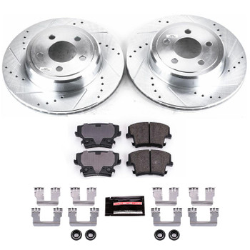 Brake Rotors/Pads, Cross-Drilled/Slotted, Iron, Zinc Dichromate Plated, Rear, 12.60 in., Chrysler, Dodge, Kit