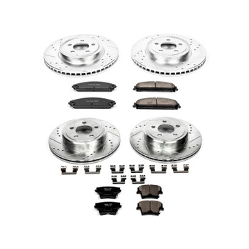 Brake Rotors/Pads, Vented Front/Vented Rear, Cross-Drilled/Slotted, Ceramic Pads, Chrysler, Dodge, Kit