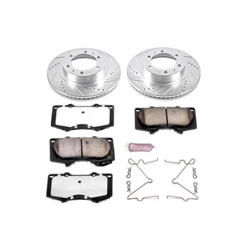 Brake Rotors/Pads, Truck and Tow, Drilled/Slotted, Iron, Zinc Plated, Front, Toyota, Kit