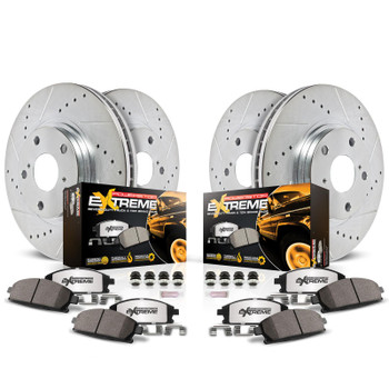 Brake Rotors/Pads, Drilled/Slotted, Iron, Zinc Plated, Front/Rear, Dodge, Kit