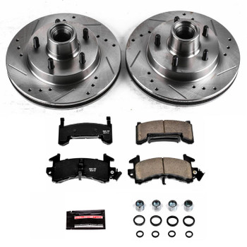 Brake Rotors/Pads, Cross-Drilled/Slotted, Iron, Natural Finish, Kit