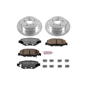 Brake Rotors/Pads, Iron, Drilled/Slotted, Zinc Plated, Carbon Ceramic Pads, Jeep, Rear, Kit