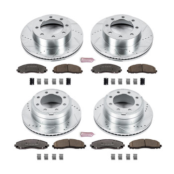 Brake Rotors/Z36 Pads, Drilled/Slotted, Iron, Zinc Plated, Front/Rear, Ford, Kit