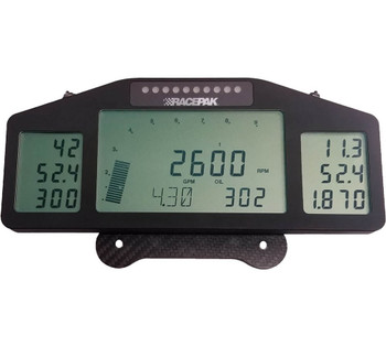 """The Pro III Dash is one of the more exciting and useful products to be introduced into data acquisition. It is both a driving instrument and a tuning tool. Although it is more frequently seen in the cockpit of many high profile dragsters it can be mounted anywhere, and it is used more by the crew chiefs than the drivers. The Pro Dash is designed for use with the Pro series data recorders. The Pro Dash will display any function that is being monitored by a Pro III or Pro IIIA data recorder. Up to 36 different functions, in addition to the ever-present RPM bar, can be displayed on its three individual screens. Four sets of programmable displays allow the user to scroll between displays and view only those functions he needs. Commonly monitored items for display include engine RPM, EGT's, fuel flow, pressures, ignition timing, boost, and temperatures.  The Pro III Dash features a row of LEDs which can be programmed to function as either a stage/shift light or as four different programmable warning lights. The RGB design of the LEDs allows multiple colors to differentiate between functions or warnings.  Dimensions for the Pro Dash are 3.800"""" tall x 9.385"""" wide x.0625"""" deep. Total weight is a mere 17 ounces including its carbon fiber mount. It is backlit for nighttime use. Unlike the original Pro Dash, this unit connects to a Pro III or Pro IIIA system using a 5-pin Autosport cable"""