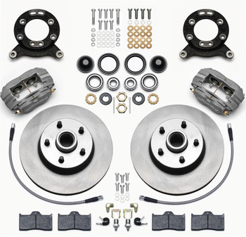 Disc Brakes, Classic Series Dynalite, Front, Solid Surface Rotors, 4-piston Gray Calipers, Buick, Chevy, Kit