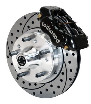 Disc Brakes, Front, Pro Series, Drilled/Slotted Rotors, 4-Piston Black Calipers, GM, Kit
