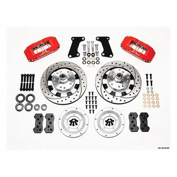 Disc Brakes, Front, Dynalite Pro, Cross Drilled/Slotted, 6-Piston Red Calipers, GM, Kit