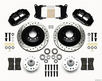 Disc Brakes, Forged Narrow Superlite 6R Big Brake, Front, Rotors, 6-piston Calipers, Black, Buick, Chevy, Kit
