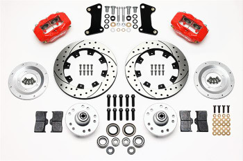 Disc Brakes, Front, 12.19 in. Diameter Rotors, 4-Piston Calipers, Red, Cross-drilled/Slotted, GM, Kit