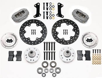 Disc Brakes, Dynalite Drag Race, Front, Manual, Cross-drilled Surface Rotors, 4-piston Calipers, Ford, Kit
